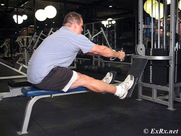 Cable Seated Row with legs straight