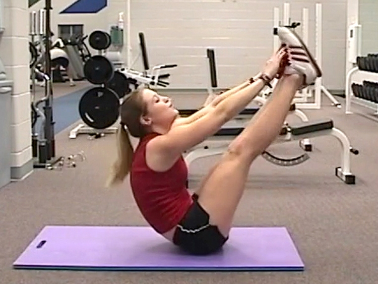 V-up involves both hip flexors and abdominal muscles dynamically