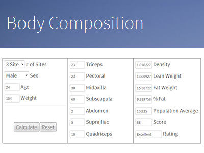 Skinfold Body Composition Calculator