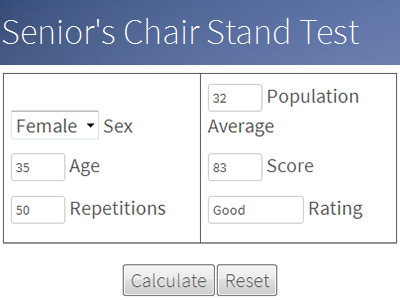 Senior's Chair Stand Test Calculator