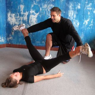 PNF Straight Leg Groin Stretch (administrator kneels)